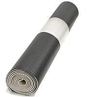Коврик для йоги и фитнеса (йогамат) текстурный двухслойный 5 мм черная кожа пупырчатая с белой прослойкой
