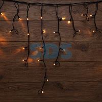 Гирлянда «Айсикл» («Бахрома») светодиодная 3,2х0,6 м,  88 LED,  черный провод каучук,  теплое белое свечение
