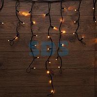 Гирлянда «Айсикл» («Бахрома») светодиодная 3,2х0,9 м,  120 LED,  черный провод каучук,  теплое белое свечение