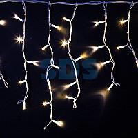 """Гирлянда Айсикл (бахрома) светодиодный,  4,0 х 0,6 м,  белый провод """"КАУЧУК"""",  230 В,  диоды белые,  128 LED"""