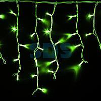 """Гирлянда Айсикл (бахрома) светодиодный,  4,0 х 0,6 м,  белый провод """"КАУЧУК"""",  230 В,  диоды зеленые,  128 LED"""