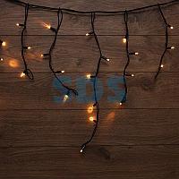 Гирлянда «Айсикл» («Бахрома») светодиодная 5х0,7 м,  152 LED,  черный провод каучук,  теплое белое свечение