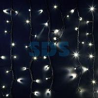"""Гирлянда Айсикл (бахрома) светодиодный,  6,0 х 1,5 м,  черный провод """"КАУЧУК"""",  230 В,  диоды белые,  480 LED"""