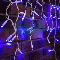 Гирлянда Айсикл (бахрома) светодиодный,  2,4х0,6м,  эффект мерцания,  белый провод,  230 В,  диоды СИНИЕ,  88