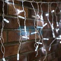 Гирлянда Айсикл (бахрома) светодиодный,  2,4х0,6м,  эффект мерцания,  белый провод,  230 В,  диоды БЕЛЫЕ,  88