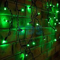 Гирлянда Айсикл (бахрома) светодиодный,  2,4 х 0,6 м,  черный провод,  230 В,  диоды зелёные,  88 LED