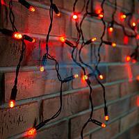 Гирлянда Айсикл (бахрома) светодиодный,  2,4 х 0,6 м,  черный провод,  230 В,  диоды красные,  88 LED