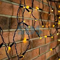Гирлянда Айсикл (бахрома) светодиодный,  4,8 х 0,6 м,  черный провод,  230 В,  диоды желтые,  176 LED