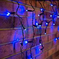 Гирлянда Айсикл (бахрома) светодиодный,  4,8 х 0,6 м,  черный провод,  230 В,  диоды синие,  176 LED