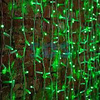 """Гирлянда """"Светодиодный Дождь"""" 2х1,5м,  постоянное свечение,  белый провод """"КАУЧУК"""",  230 В,  диоды ЗЕЛЕНЫЕ,"""