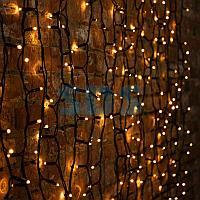 """Гирлянда """"Светодиодный Дождь"""" 2х3м,  постоянное свечение,  черный провод """"КАУЧУК"""",  230 В,  диоды ЖЁЛТЫЕ,  760"""