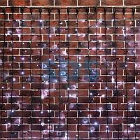 """Гирлянда """"Светодиодный Дождь"""" 2х6м,  постоянное свечение,  черный провод """"КАУЧУК"""",  230 В,  диоды БЕЛЫЕ,  1500"""