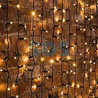 """Гирлянда """"Светодиодный Дождь"""" 2х1,5м,  постоянное свечение,  черный провод,  230 В,  диоды ТЕПЛЫЙ БЕЛЫЙ,  360"""
