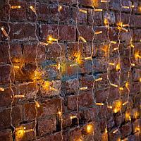 """Гирлянда """"Светодиодный Дождь"""" 2х1,5м,  постоянное свечение,  прозрачный провод,  230 В,  диоды ЖЁЛТЫЕ,  192"""