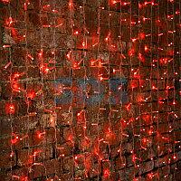 """Гирлянда """"Светодиодный Дождь"""" 2х1,5м,  постоянное свечение,  прозрачный провод,  230 В,  диоды КРАСНЫЕ,  192"""