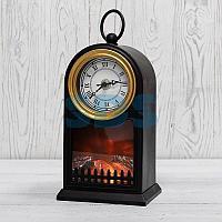 Светодиодный камин «Старинные часы» с эффектом живого огня 14,7x11,7x25 см, черный, батарейки 2хС (не в