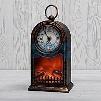 Светодиодный камин «Старинные часы» с эффектом живого огня 14,7x11,7x25 см, бронза, батарейки 2хС (не в