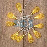 """Гирлянда светодиодная """"Восточные фонарики"""" 10 LED ЖЕЛТЫЕ 1,5 метра,  прозрачный ПВХ,  питание 2*АА"""
