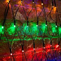 """Гирлянда """"Сеть"""" 2х2х1.5м,  свечение с динамикой,  черный ПВХ,  136 LED,  230 В,  цвет: Мультиколор"""