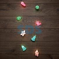 Гирлянда светодиодная «Новый год» 1,5 м,  прозрачный ПВХ,  10 LED,  теплый белый,  питание 2 х АА (батарейки