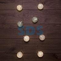 Тайские фонарики «Вельвет» 3,5 м,  прозрачный ПВХ,  20 LED,  теплый белый,  питание 2 х АА (батарейки не в