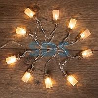 Гирлянда светодиодная «Баночки» 1.5 м,  10 LED,  прозрачный ПВХ,  цвет свечения теплый белый,  2 х АА