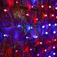 """Гирлянда """"Сеть"""" 2х1,5м,  черный ПВХ,  288 LED Красные/Синие"""