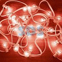 Гирлянда LED Galaxy Bulb String 10м,  белый КАУЧУК,  25 ламп*6 LED КРАСНЫЕ,  влагостойкая IP65