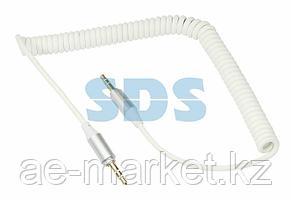 Аудиокабель AUX 3.5 мм шнур спираль 1 м белый