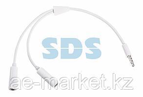 Аудиоразветвитель штекер 3,5 мм на 2 по 3,5 мм белый