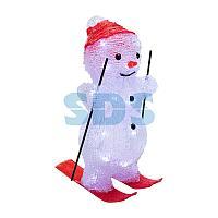 Акриловая светодиодная фигура «Снеговик на лыжах» 16х20х29 см,  30 светодиодов,  батарейки 3хАА (не входят в