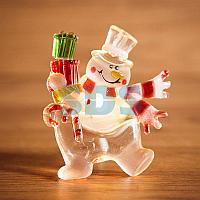 """""""Снеговик с подарком"""" RGB на присоске"""