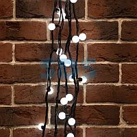 Гирлянда Мультишарики Ø23 мм,  10 м,  черный каучук,  80 LED,  постоянное свечение,  цвет Белый
