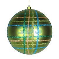 """Елочная фигура """"Шар в клетку"""" 25 см, цвет зеленый мульти"""