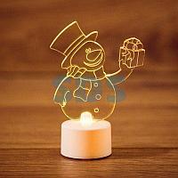 """Фигура светодиодная на подставке """"Снеговик с подарком 2D"""",  RGB"""
