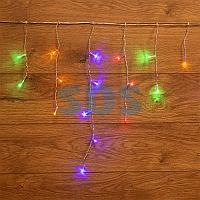 Гирлянда Айсикл (бахрома) светодиодный,  1,8 х 0,5 м,  прозрачный провод,  230 В,  диоды МУЛЬТИКОЛОР