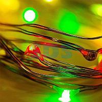 Гирлянда «Роса» 2 м,  20 LED,  цвет свечения мультиколор,  тонкий батарейный блок NEON-NIGHT