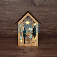 Деревянная фигурка с подсветкой «Домик в лесу» 19х6х26 см