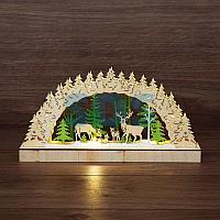 Деревянная фигурка с подсветкой «Семейство оленей» 30х5х15,7 см