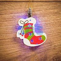 "Фигурка подвесная ""Новогодний носок"" RGB 8*6 см"
