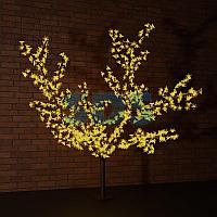 """Светодиодное дерево """"Сакура"""" высота 1,5м,  диаметр кроны 1,8м,  желтые светодиоды,  IP 65, понижающий"""