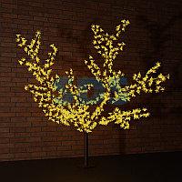 """Светодиодное дерево """"Сакура"""",  высота 2,4м,  диаметр кроны 2,0м,  желтые светодиоды,  IP 54, понижающий"""