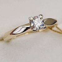 Золотое кольцо с бриллиантами 0.28Сt SI2/L, EX - Cut