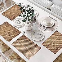 Салфетки сервировочные под тарелки набор 4 в 1 из бамбука плетеные цвет бежевый и красный