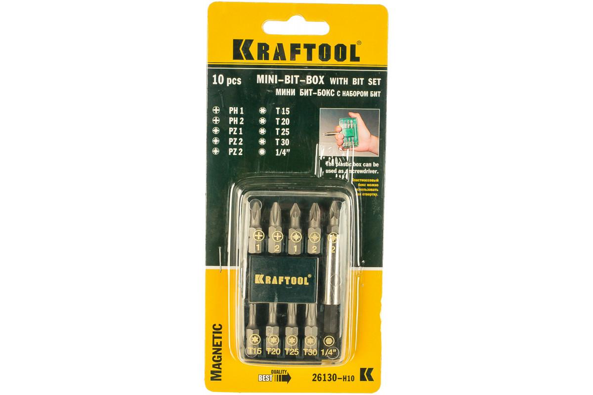 Набор KRAFTOOL EXPERT 26130-H10 ''MINI - 2'' с магнитным адаптером в мини бит-боксе 10 шт
