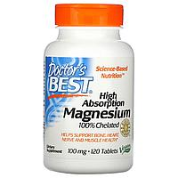 Хелатный легко усваиваемый магний, 100 мг, 120 таблеток, Doctor's Best