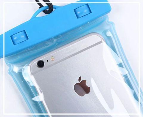 Чехол для смартфона водонепроницаемый со спасательным кругом и ремешком IPX8 (Синий) - фото 7