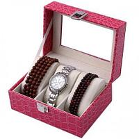 Шкатулка для хранения 3 наручных часов и браслетов (Розовый)