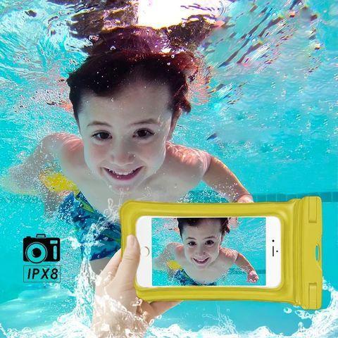 Чехол для смартфона водонепроницаемый со спасательным кругом и ремешком IPX8 (Желтый) - фото 4