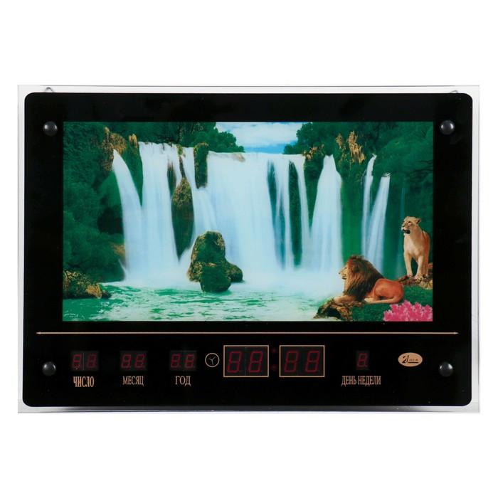 """Картина с подсветкой, звуками водопада и информационным календарем """"Водопад со львами""""  46*33см    6"""